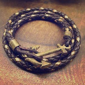 🦞 ⚓️ KJP ⚓️ 🦞 Brown & Gold Leather Wrap Bracelet